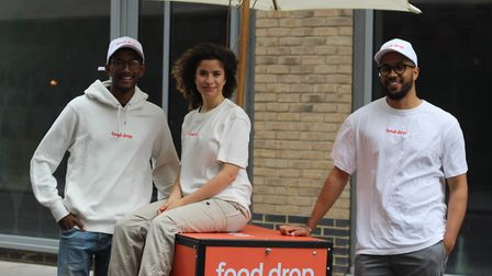The Food Drop team: Thanu Varatharajan (left), Miranda Khamis and Everest Ekong.