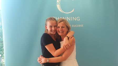 Channing School pupil Isobel Horton celebrates with her mum Ingrid, after she gets grades to study M