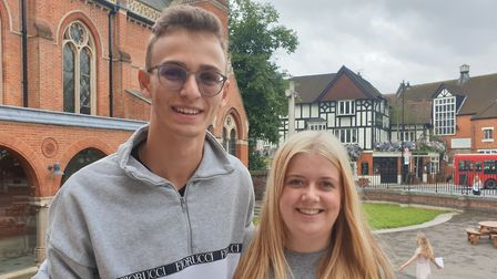 Highgate School Sixth Form pupils James Waxley and Bea Twentyman after getting their A-level results