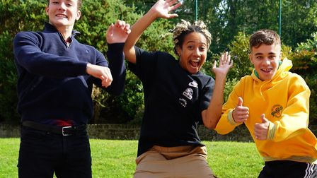 UCS Hampstead pupils jump for joy on A-level results day as they celebrate their grades, the school'