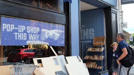 A sign for the pop-up shop that's opened next door to Dunn's Bakery in Crouch End. Picture: David Wi