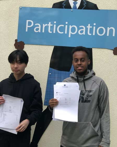 Martin Vu (left) and Yasin Regal celebrating their BTEC results. Picture: Emma Bartholomew