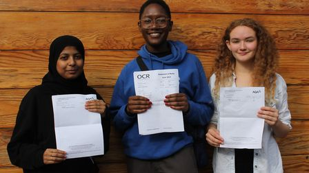 (From left) Proud students: Fatema Delair, Kamara Venner and Sukie Jenkins show off their excellent