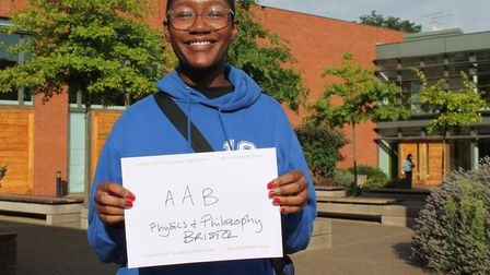 Kamara Venner got two As and a B. She will be studying physics and philosophy at Bristol Universtiy.
