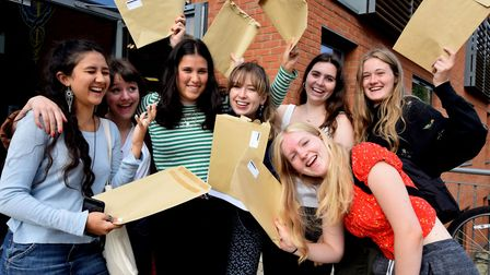 Pupils celebrate their success in A-Level results at South Hampstead High School. Picture: Polly Han