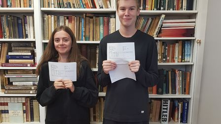 Monica and George from the King Alfred School celebrating their A-level results. Picture: King Alfre