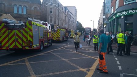 Fire crews at Hackney Central station today. Picture: @Hackneycyclist