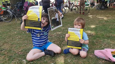 Carina Milstone's sons at the Extinction Rebellion East London Uprising in London Fields. Picture: C