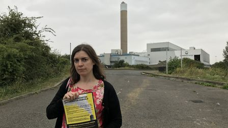 Carina Milstone standing in front of the existing incinerator in Edmonton.. Picture: Picture: Louise