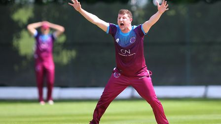 Hampstead bowler Rich Banham appeals for a wicket (pic: George Phillipou/TGS Photo).