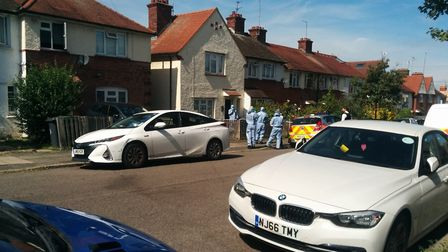 Forensic officers at the house in Steeds Road, Muswell Hill. Picture: @DanMoss