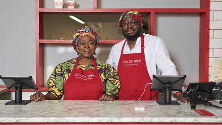 Mother and son, Sade and Matthew Omeye-Howell, at Jollof Box.