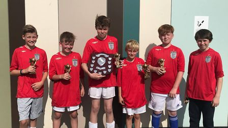 The victorious 14th Lowestoft Scouts at the Lowestoft and District Scout five-a-side football tourna