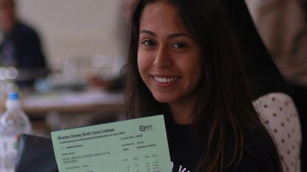 Proud student Andrea Sanchez with her results. Picture: Shanei Stephenson-Harris