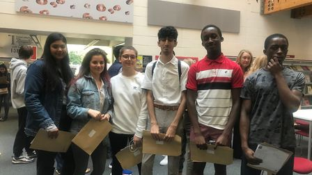 Mossourne students with their results. Picture: Hackney Council