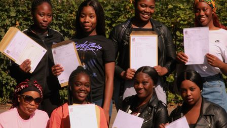 GCSE results day at Mossbourne Community Academy. Picture: Shanei Stephenson-Harris