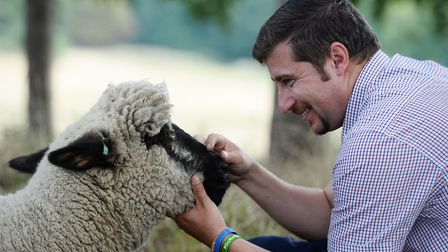 Tom Davis looks after one of his sheep, temporarily posted on Hampstead Heath. Picture: Kirsty O'Con