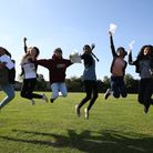 Students celebrating their exam results day. Picture: ELLIE HOSKINS