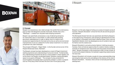 Part of Boxpark's original planning statement to Hackney Council, which asserted that there would be