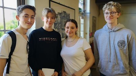 Archie, Oliver, Giulia and Ori all scored top grades in their GCSEs at King Alfred School. Picture: