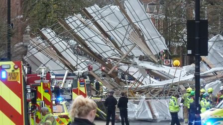 Scaffolding collapsed outside of the Royal Free Hospital earlier this year. Picture: RON VESTER