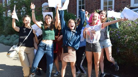 Clapton Girls' Academy after receiving excellent results in their GCSEs
