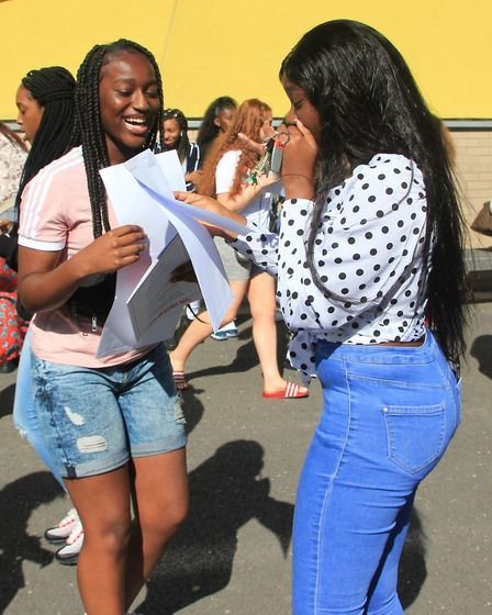 Bukola Fenuyi and Ranita Addo celebrate their results. Picture: City Academy