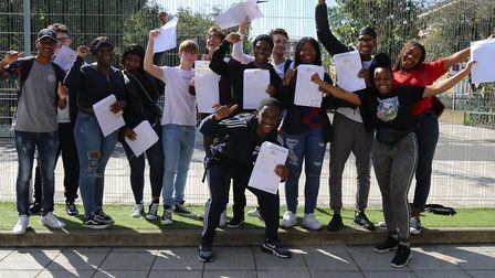 Urswick students celebrate GCSE success.