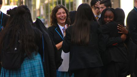 GCSE results day at the Petchey Academy in Shacklewell Lane, Dalston. Picture: Shanei Stephenson-Har