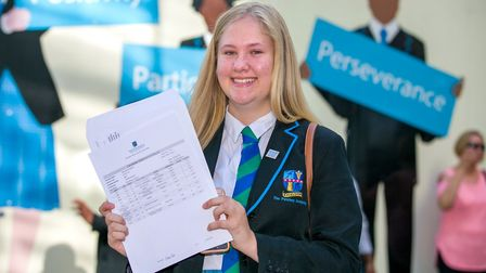 Star student Samatha Gallifant is rightly pleased with her results: 11 GCSEs including six at grades