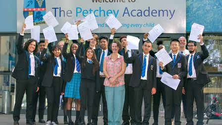 Petchey'�s top performing students this year with principal Olivia Cole. Picture: Petchey Academy
