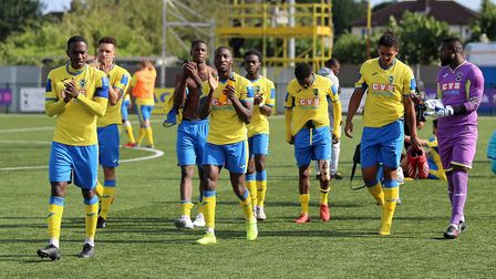 Haringey players acknowledge the crowd at the final whistle (pic George Phillipou/TGS Photo)