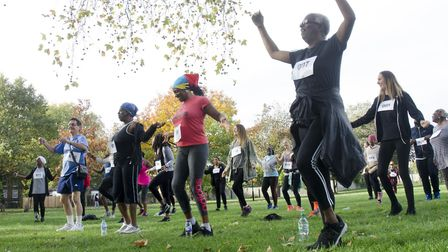 Fun runners and walkers warming up at last year's Audition for Life. Picture: Rudy Atwell