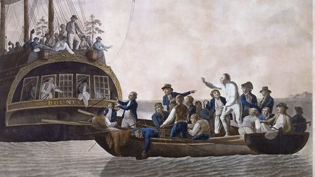 Fletcher Christian and the mutineers cast Lieutenant William Bligh and 18 others adrift; 1790 painti