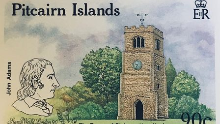 The Pitcairn Islands commemorative stamp depicting St Augustine's Tower where John Adams was baptise