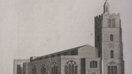 The parish church of Hackney in 1750, St Augustine's Church. Picture: LMA Noble Collection of Epheme