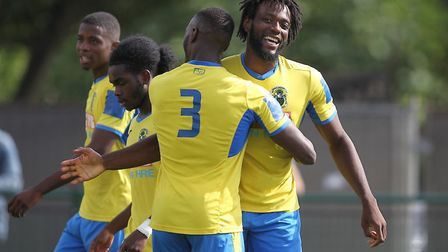 Chid Onokwai of Haringey Borough celebrates scoring in the Isthmian Premier (pic: George Phillipou/T