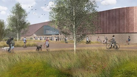 An artist's impression of the proposed new twin rink Lee Valley Ice Centre from Lea Bridge Road. Pic