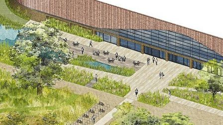 An artist's impression of what the proposed new Lee Valley Ice Centre would look like from the marsh