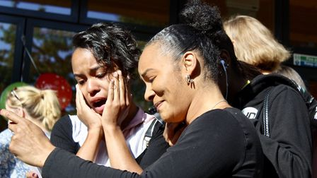 Tears flow as pupils open their GCSE results at Hornsey School for Girls. Picture: HSFG