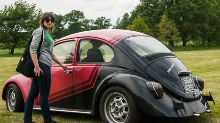 Karolina Jedrzejczyk with the 1973 VW Beetle, which was stolen from outside her and her boyfriend Ma