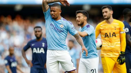 Manchester City's Gabriel Jesus reacts after his goal is ruled out by VAR during the Premier League