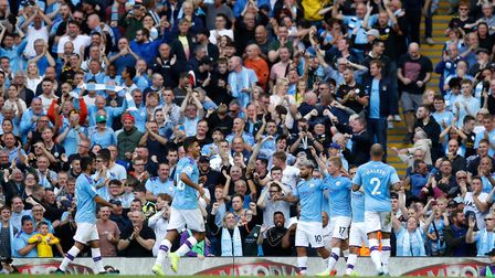 Manchester City's Sergio Aguero celebrates scoring his side's second goal of the game during the Pre