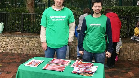 Greenpeace volunteers Jack Hall and Geoffrey Foucher at the weekend.
