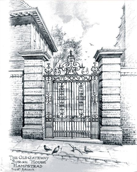 A drawing of Burgh House's gates by Fred Adcock. Picture: Burgh House