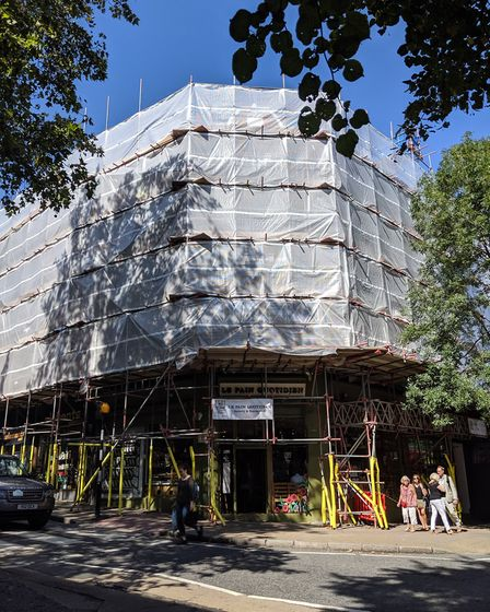 Scaffolding returns to South End Green. Picture: Sam Volpe