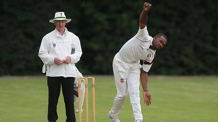 Arthur George in bowling action for Hornsey (pic: George Phillipou/TGS Photo).