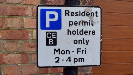 A CPZ sign for Crouch End Zone B, where restrictions run on weekdays between 2pm and 4pm. Picture: P