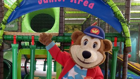 Woody Bear at the brand new soft play area and sensory area at Pleasurewood Hills in Lowestoft. Pict