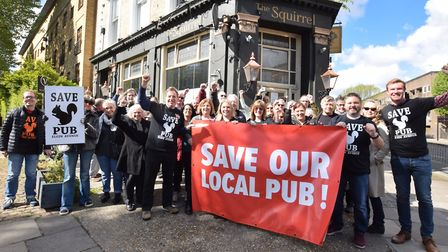Save The Squirrel campaigners outside the under-threat pub in Maida Vale on Saturday May 4. Picture: